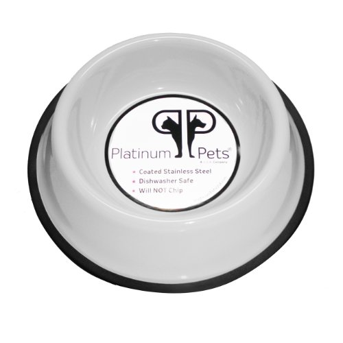 Platinum Pets 2 Cup Non-Embossed Non-Tip Dog Bowl, White