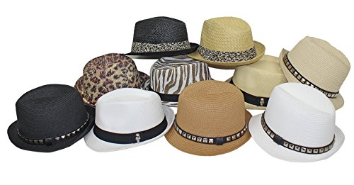 Pack of 10 Fedora Straw Hats Neutral Solid Animal Print Wholesale Closeout