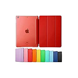 Smart Cover forIPAD 2/3/4, Go Crazzy Translucent Back Flip Case for IPAD 2/3/4 (Red)