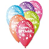 """Happy Birthday Balloons in Assorted Colours 12"""" (25 Pack)"""