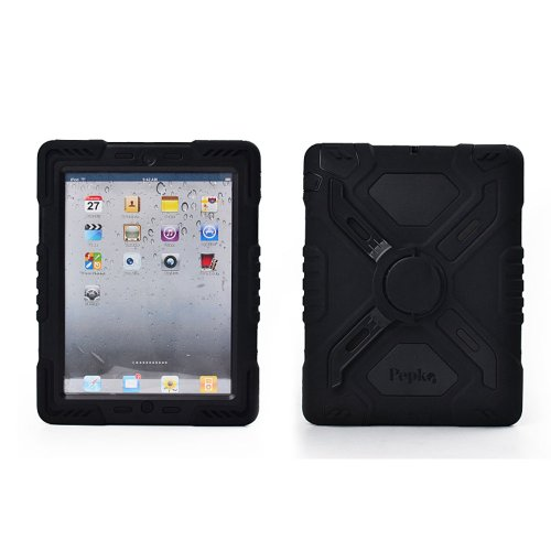 Hot Newest Ipad 5 / Ipad Air Case Silicone Plastic Kid Proof Extreme Duty Dual Protective Back Cover with Kickstand and Sticker for Ipad 5 / Ipad Air - Rainproof Sandproof Dust-proof Shockproof (Black