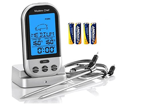 Modern Chef Wireless Digital Cooking Meat Food Thermometer includes batteries & 2 probes--- GREAT for BBQ, Oven, Smoker, Grilling, Broiling, Barbeque, Ribs, Steak, Chicken, Roast, Beef, with timer (Remote Internal Meat Thermometer compare prices)