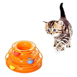Geekercity Creative Cat Ball Toy New Safer Bar Design Tower of Tracks Cat Toy Exerciser Game Teaser Anti-Slip Active Healthy Lifestyle- Suitable for Multiple Cats (Orange)