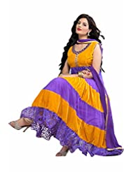 Trendz Apparels Yellow And Purple Net Brasso And Velvet Anarkali Suit Salwar Suit