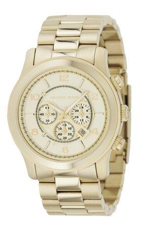 Men Michael Kors Mk8077 Gold Tone Quartz Date Chronograph Link Bracelet