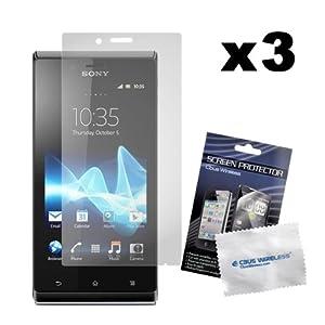 PrimaCase - Pack de 3 - Film de Protection d'écran / écran protecteur pour Sony Xperia J