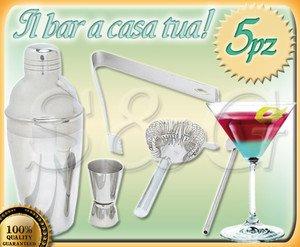 NOVITA': SET BAR BARMAN COMPLETO PER COCKTAIL E APERITIVI 5 PEZZI ACCIAIO INOX