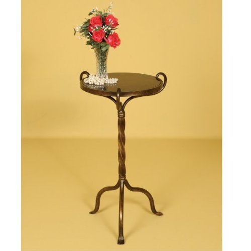 Round Accent Table with Granite Top - Antinqued Bronze