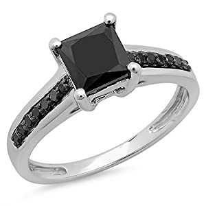 1.60 Carat (ctw) 14K White Gold Princess & Round Cut Black Diamond Ladies Bridal Solitaire With Accents Engagement Ring (Size 7.5)
