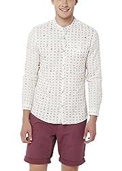 Chumbak Men's Casual Shirt (8904218042581_CMMCS003 XL_X-Large_Off-White)