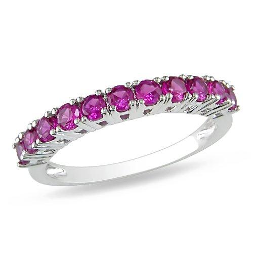 Sterling Silver 7/8 CT TGW Created Ruby Fashion Ring