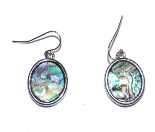 Genuine Shell Earrings with Sea Abalone Shell Plated with Rhodium Anti-Tarnish (Different Shell Types on Each Side) (Gift Pouch Included) Elegant Unique Jewellery