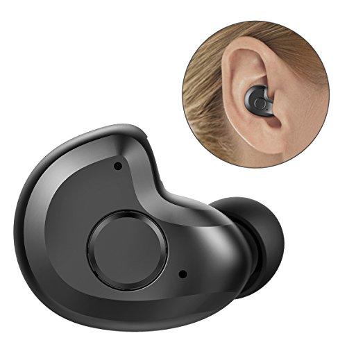 世界最軽量ヘッドセットわずか3.8g Bluetooth ヘッドセット V4.1 Bluetooth ワイヤレスヘッドセット 片耳 ブルートゥース ヘッドセット Bluetooth ワイヤレスイヤホン 防汗防水 マイク内蔵 軽量小型 モノラル 高音質 ノイズキャンセリング搭載 iPhone Android などのスマートフォンに対応 by AngLink (ブラック)