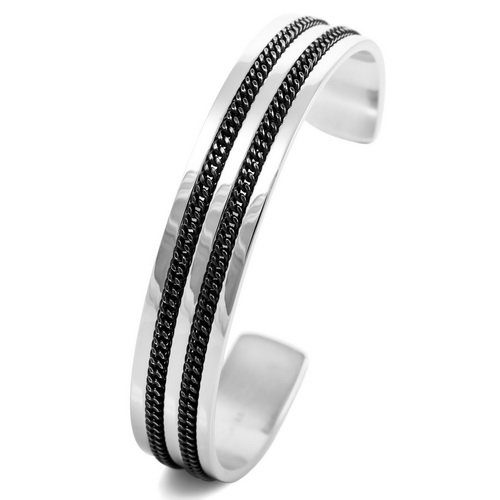 Justeel Men Stainless Steel Bangle Bracelet Cuff Chain Silver Black Link , (Width x Length: 0.47 x 6.30 inches)