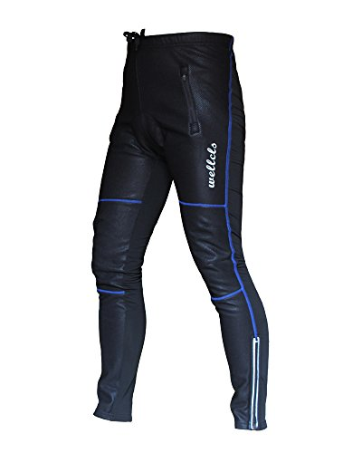 Wellcls Windproof Cycling 3D GEL Padded Pants Bike Bicycle Wear Fleece Winter Thermal (Black/Blue, XX-Large) (Boys Cycling Pants compare prices)