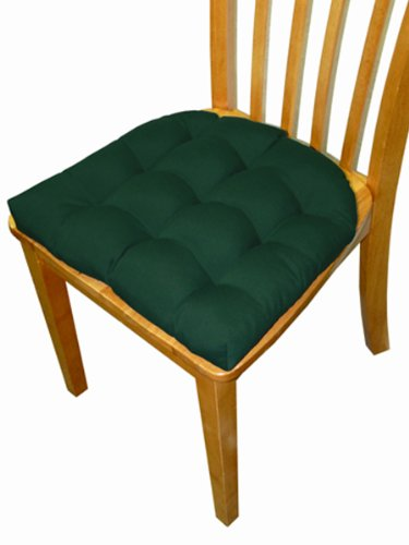 Small Patio Chair Cushion - Outdura Solid Green Color - Indoor / Outdoor, Mildew Resistant, Fade Resistant 6000 Hours - Outdoor Dining Set Chair Pad with Ties - U Shaped, Box Edge, Tufted Cushion, Reversible, Latex Foam Fill image