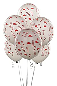 Silver with Red Firefighter Symbols Balloons (6) by Birthday Express
