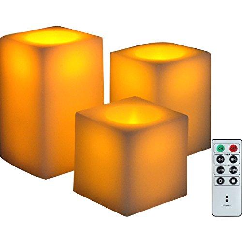 oottostyle.jp®【3個セット リモコン付き】LEDキャンドルライト角型 蝋(ワックス)使用 【S/M/Lサイズ×各1】【ゆらぎモード&照明モード/明るさ2段階調整、消灯タイマー付き】