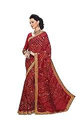 Aaradhya Fashion Red Crepe Saree