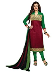 Surat Tex Pink Color Casual Wear Embroidered Chanderi Semi-Stitched Salwar Suit - B017RAXNH2