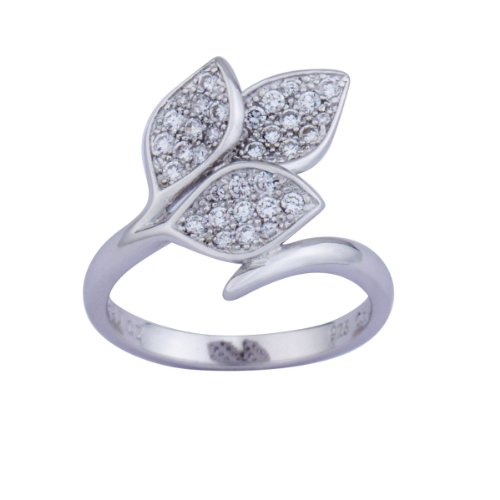Sterling Silver Cubic Zirconia Micro Pave Leaf Ring, (0.84 cttw), Size 8