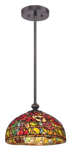 Quoizel Tf1604Sib Tiffany Wild Garden With Imperial Bronze Finish Pendant With 1 Light