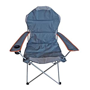 Milestone Deluxe Outdoor Chair Folding Leisure Chair - Grey, 92 x 103 x 60 cm
