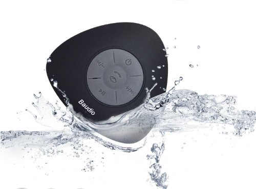 Baudio Mini Ultra Portable Waterproof Bluetooth Wireless Speakers With Suction Cup For Showers, Bathroom, Pool, Boat, Car, Beach, Outdoor Etc. For All Devices With Bluetooth Capability + Siri Compatible - 6 Hours Playtime / With Built-In Mic For Use As A