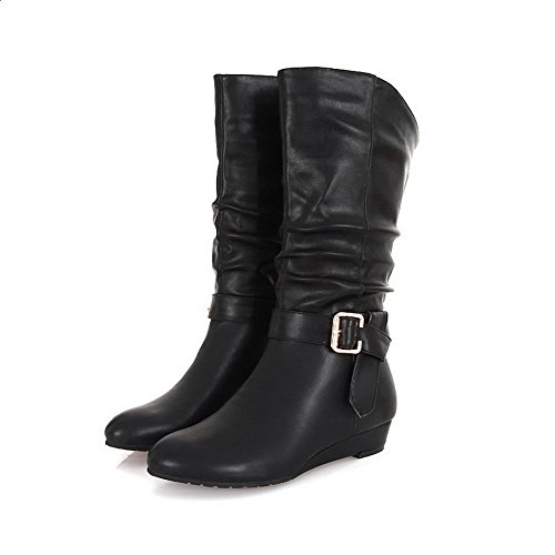 VogueZone009 Womens Closed Toe Round Toe Low Heels PU Soft Material Solid Boot with Buckle