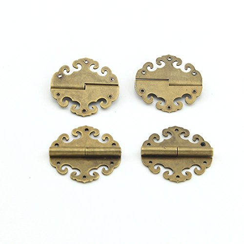 Owfeel Antique Brass Auspicious Clouds Decorative Hinges For Jewelry Box Small Box Pack of 4pcs 40x40mm