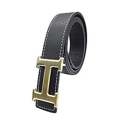Maikun H Letter Gold Buckle Black Leather Belt 100cm for Waist Size 28-30\