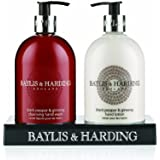 Baylis and Harding Mosaic Mens Black Pepper and Ginseng 2 Bottle Set in a Black Acrylic Rack