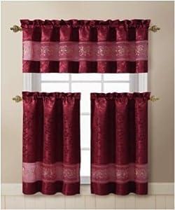 Ariel 3 Piece Kitchen Curtain Valance 2 Tiers Burgundy G