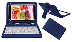 Acm Premium Usb Keyboard Case For Lava Ivory M4 Cover Stand With Free Micro Usb Otg - Blue