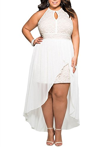 Gloria&Sarah Women's Front Keyhole Lace Halter Special Occasion Plus Size Mini Dress,White,XXL
