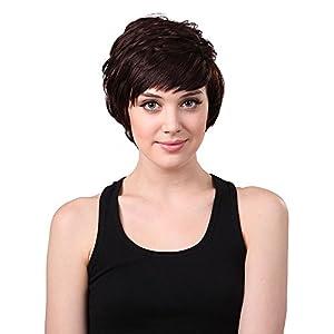 Perruque Postiche Cheveux Naturel Court Bouclé Frisé 6