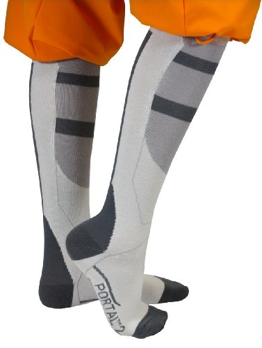 Portal 2 - Chell's Aperture Science Long Fall Socks (Grey/White,One Size Fits All)