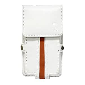Jo Jo A6 Nillofer Series Leather Pouch Holster Case For LG OPTIMUS L5 DUAL E615 White Orange
