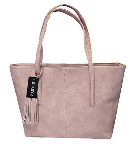Tibes-Damen-PU-lederne-Handtaschen-tasche-Rosa
