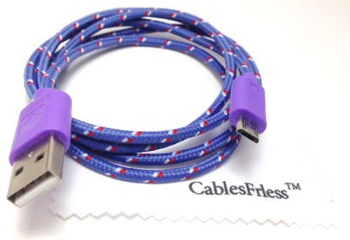 Cablesfrless 3Ft Braided High Quality Durable Micro B 2.0 Usb Charging / Data Sync Cable Fits Android, Windows Phone, Samsung Galaxy S5, And Other Micro Usb 2.0 Compatible Devices (Purple)