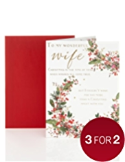 Wife Traditional Foliage Christmas Card