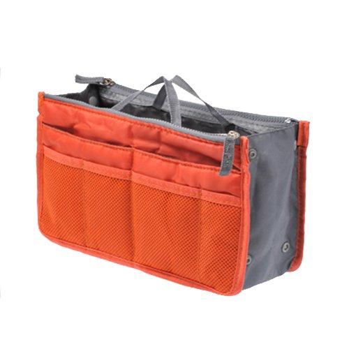 UINK 高品質 【システムバッグインバッグ(男女兼用)10カラー】 バッグでバッグを簡単収納!お財布・携帯などの必需品から手帳やペンもピッタリサイズ! 【オレンジ】