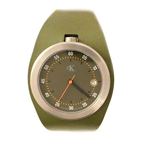 Calvin Klein k1611163Men Quartz Watch (Rechargeable) quandrante Steel Green Leather Strap