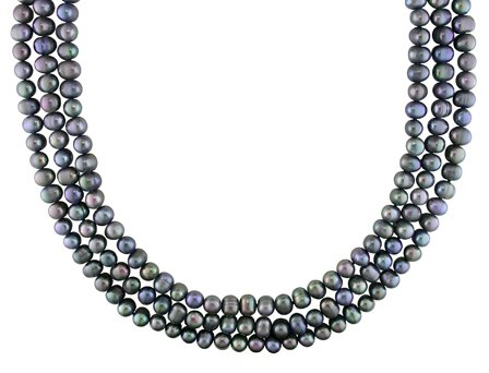 Fresh Water Black Pearl Necklace (7 mm)