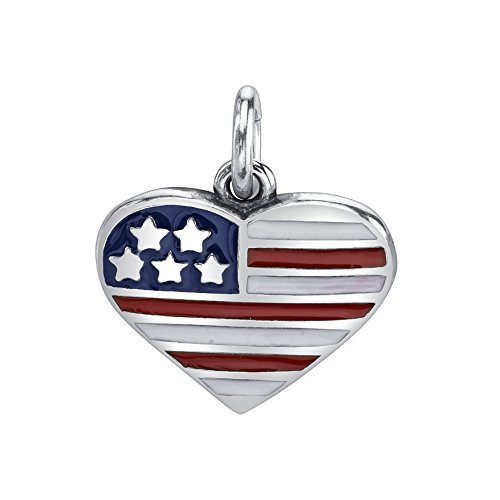 Sterling Silver Red White Blue Enameled USA Flag Heart Charm Pendant (12 x 13 mm)