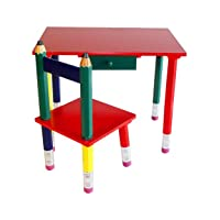 Beck International Children's Wooden Pencil Desk and Chair