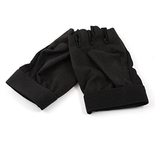 Half Finger Hook Loop Fastener Palm Protective Gloves Black Pair