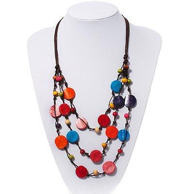 3 Strand Multicoloured Button Bead Cotton Cord Necklace - 80cm Length