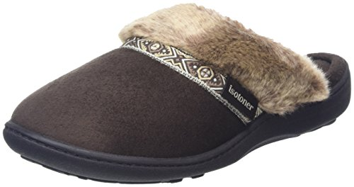 isotoner-women-pillowstep-with-fur-cuff-and-tape-trim-open-back-slippers-brown-chocolate-6-uk-39-eu