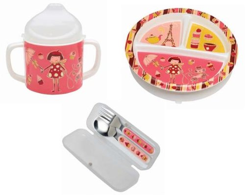 Sugarbooger Divided Plate, Sippy Cup, and Silverware Set-Cupcake